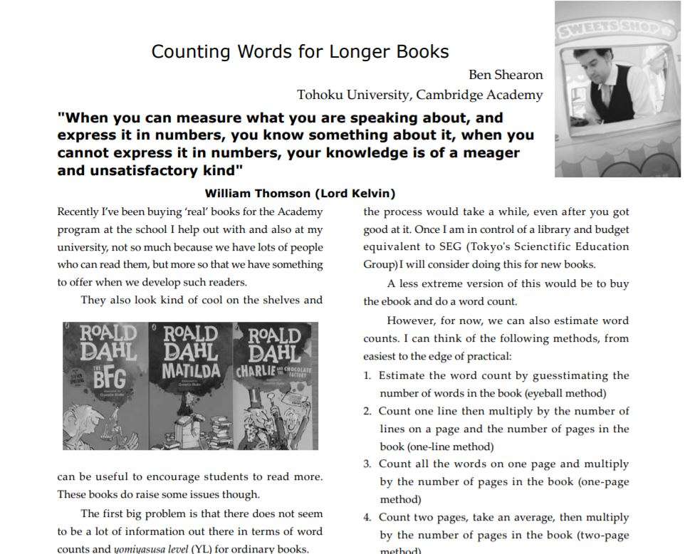 Estimating Word Counts For Longer Books Extensive Reading